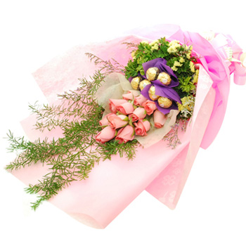 Flowers With Ferrero Rocher Hand Bouquet #2