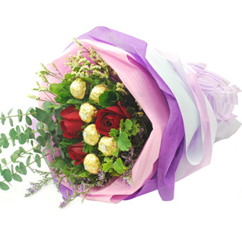 Flowers With Ferrero Rocher Hand Bouquet #3