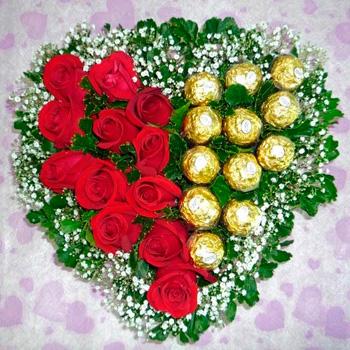 12 Red Roses & 12 Ferraro Roche heart Bouquet