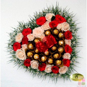 Heart Roses & Ferrero Chocolates