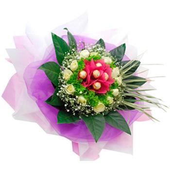 Flowers With Ferrero Rocher Hand Bouquet 06