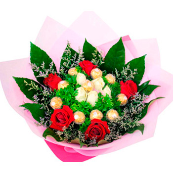 Flowers With Ferrero Rocher Hand Bouquet 09