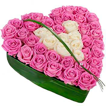 Composition of pink and white roses in a heart shape