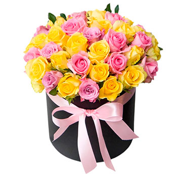 Mixed Roses in a Round Black Box