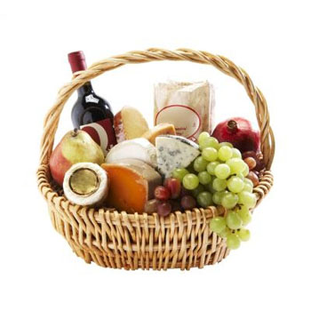 Cheese Basket & Wine, Good Fruit