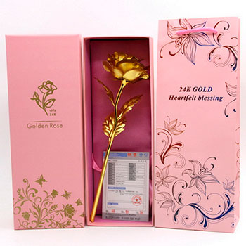 24k Gold Foil Gold Rose Flower Valentine's Day Gift Gold Flower+Box