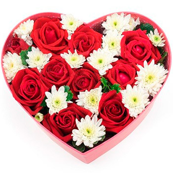 Red & White Flowers in a Heart Box