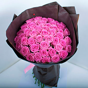 Bouquet of pink roses Aqua in kraft paper