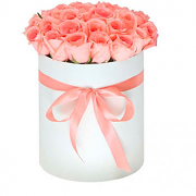 Pink Roses in a Round White Box