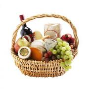 Cheese Basket & Wine, Good Fruit