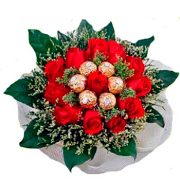 12 Red Roses With 5 Ferrero Rochers Hand Bouquet