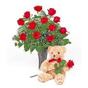 One Dozen Red Roses in a vase with Bear