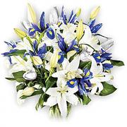 White Lilies & Blue Iris Bouquet