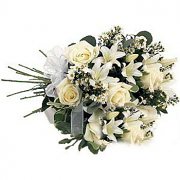 Bouquet of White Roses, Lilies and Asters