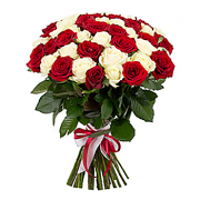 Red & White Roses Flower Bunch