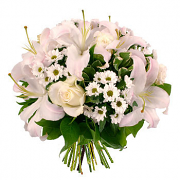 Mixed bouquet of roses, lilies and chrysanthemums.