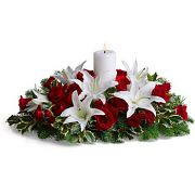 Christmas Centerpiece with white & red flowers and white candle